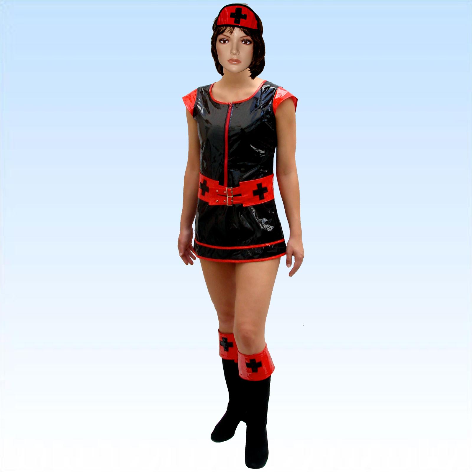 Spassprofi - PVC, Kostüm, Krankenschwester, Gr.XS/S, schwarz